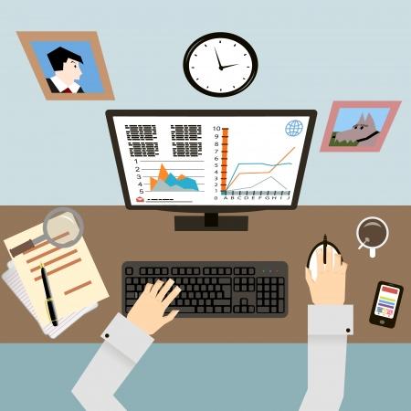 superacion personal: Lugar de trabajo con las manos y los Infograf�a en Flat Dise�o Estilo vector