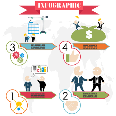 business plan concept steps infographics flat style vector Vector