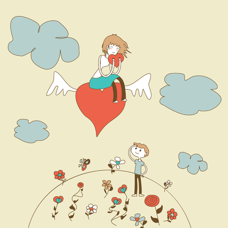 beautiful teenage girl: Doodle Girl Flies on the Heart over a Boy vector Illustration