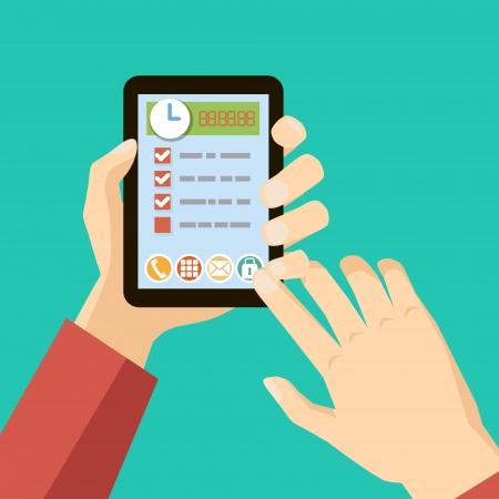 management concept: concepto de gesti�n del tiempo - las manos que sostiene la tablilla vector