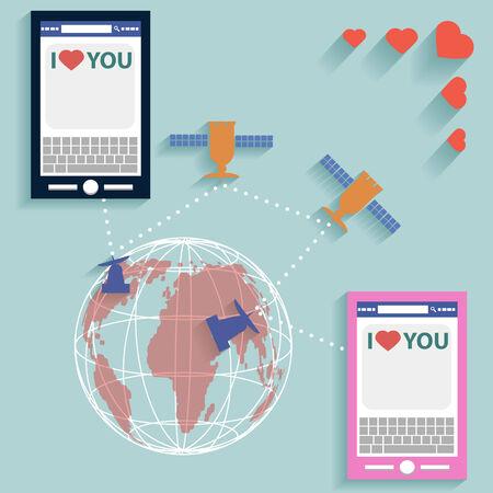 electronic organiser: Valentine SMS worldwide flat style vector Illustration