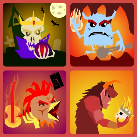 evil Icons in flat style for web and mobile vector Vector