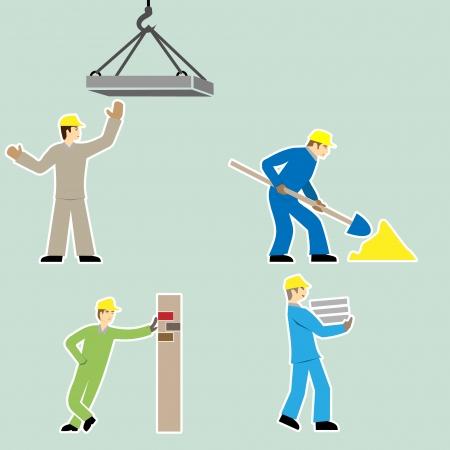 worker cartoon: Iconos trabajador de dibujos animados de estilo Dise�o plano conjunto de vectores Vectores