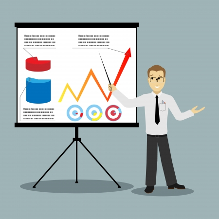 staff training: flat design businessman pointing at presentation board vector