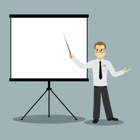 presentation board: flat design businessman pointing at presentation board vector