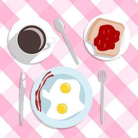 jam sandwich: flat design style breakfast concept background vector Illustration