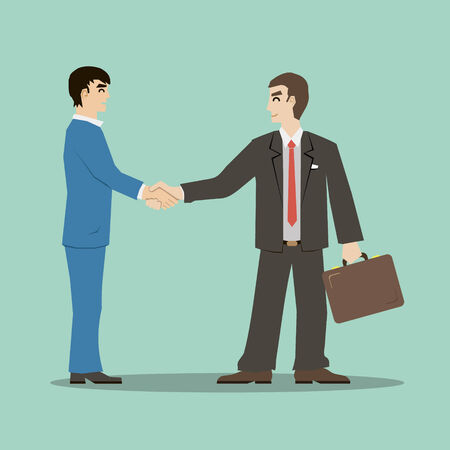 shaking: flat design style businessmans shaking hands signing an important deal leading to success vector