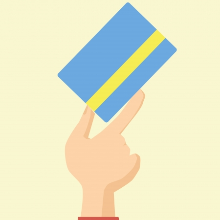 willingness: Flat Design Style Icon Hand Holds Credit Card Willingness to Pay vector
