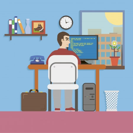 jobsite: Workplace Room with Programmer and Website Code in Flat Design Style vector
