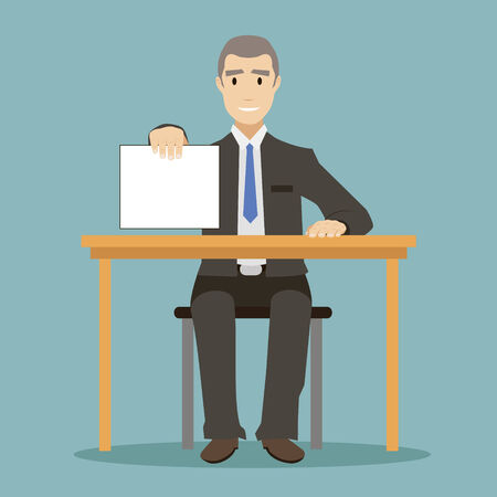 sign contract: flat design style businessman sitting at table with the form of paper to sign contract vector