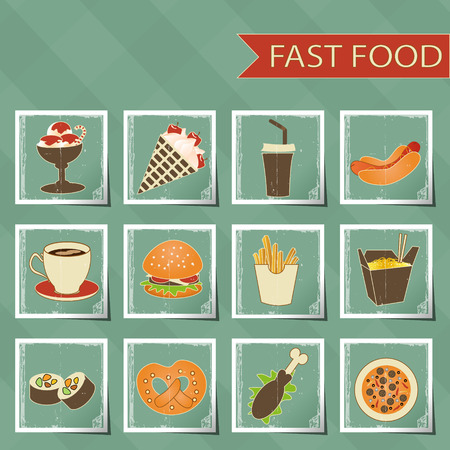 aerated: flat design retro style fast food icons set on tablecloth background vector