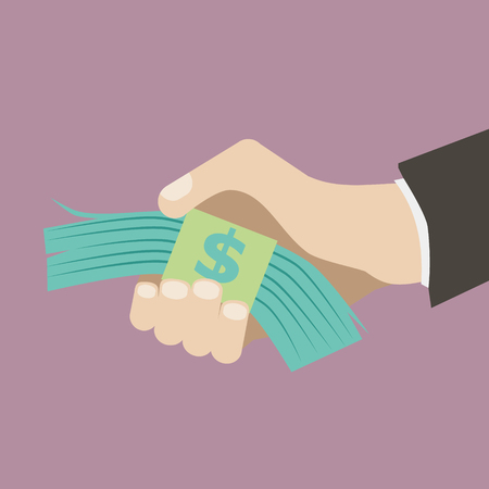 pay for: flat design retro style icon business hand holding stack money pay for concept illustration vector