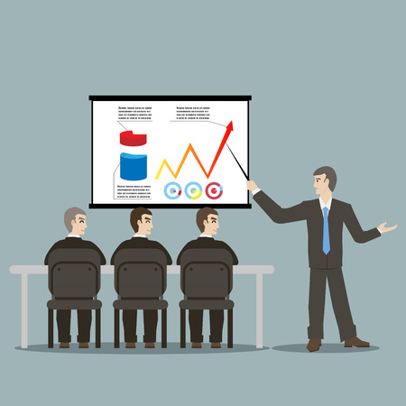 flat design style cartoon meeting businessman pointing presentation infogarhics board concept illustration vector Vector