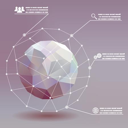 esfera: Bolas geométrica redes sociales infografía whith iconos concepto de ilustración de fondo vector