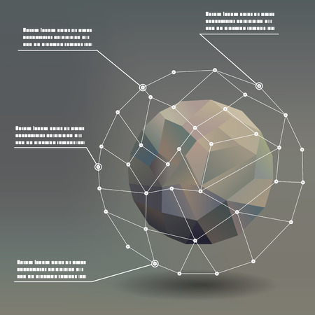 3d ball: Geometric ball social networks infographics pointers concept illustration background