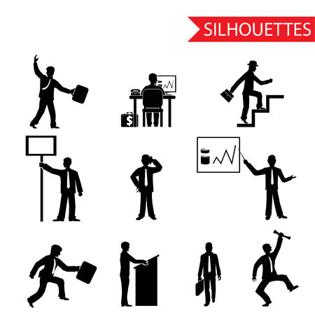 increasing: black businessman silhouettes icons set isolated vector Illustration