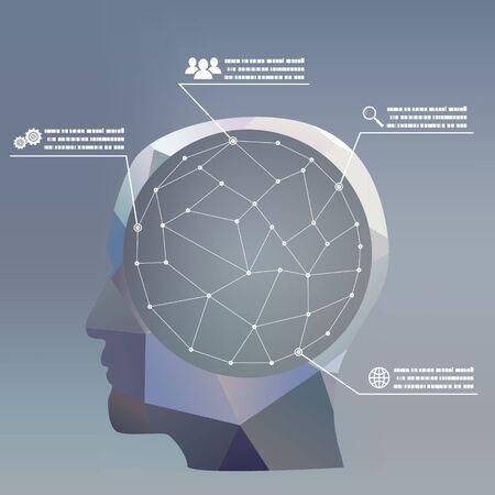 intelligent solutions: flat design style businessman headmind Social network media icon infographics concept illustration vector