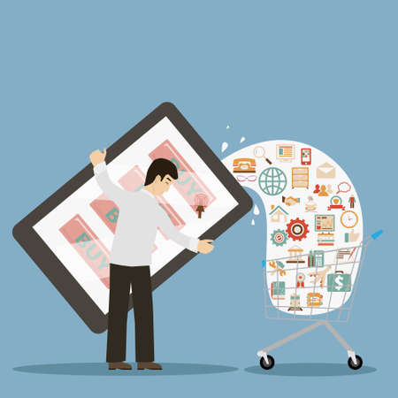 drink tools: flat design style businessman holding mobile device buy online ecommerce retro colors icons concept illustration vector