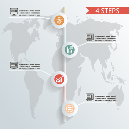 four steps infographic background whith icons concept illustration vector Vector