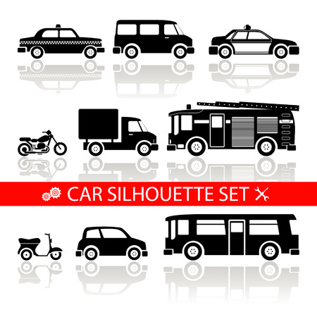 car silhouette icons set with reflection  vector Vector