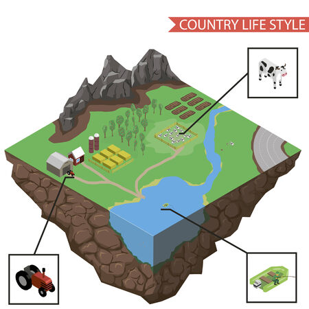 road tractor: country life infographics vector