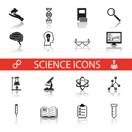 research study: Retro Flat Science Icons and Symbols Set vector