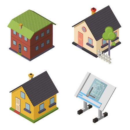 Isometric Retro Flat House Icons and Symbols set Isolated vector Vector