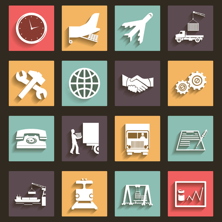 truck repair: Shipment and Transportation Icons and Symbols Flat Design Style vector Illustration