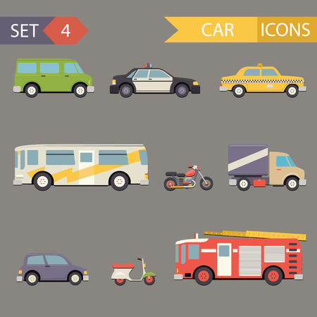 camion de pompier: R�tro wagon plat Icons Set vecteur