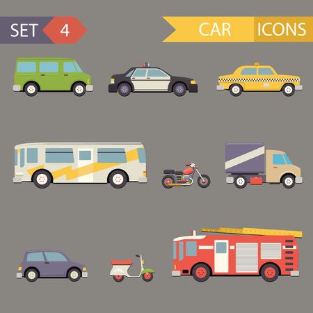carro bomberos: Retro Piso iconos conjunto de vectores de coches