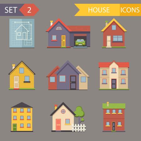 haus: Retro Wohnung Haus Icons und Symbole set vektor Illustration