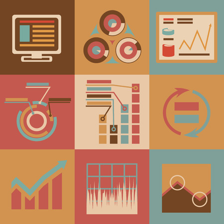 Retro flat design style business infographics Icons for Web and Mobile vector Vector