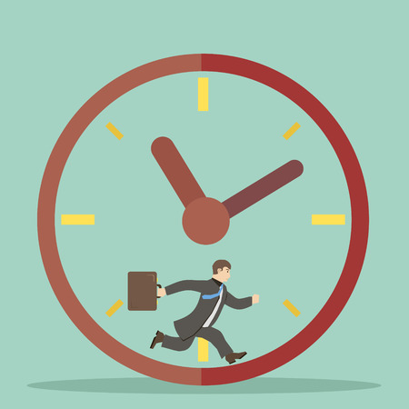flat design style businessman hurry within specified time limits concept illustration vector Vector