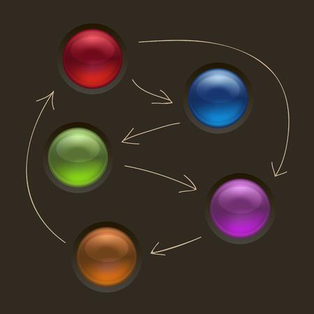 guidelines: Business Diagram Management Strategy Buttons on Black Background Vector Illustration Illustration