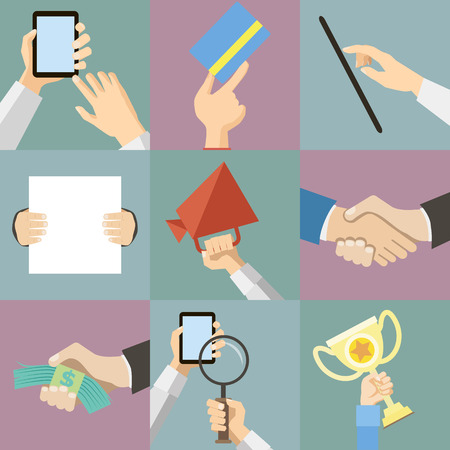 Flat Design Business Hands Holding Paper for Advertising Announcement Vector Illustration
