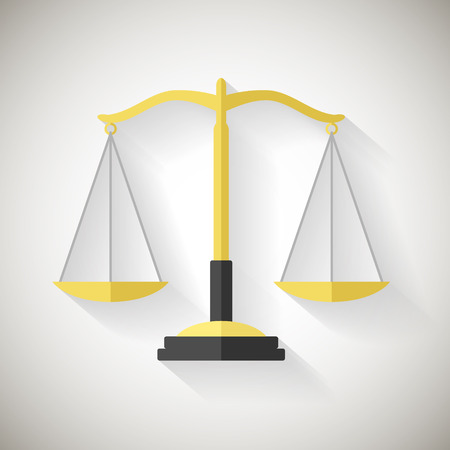scale icon: Flat Design Law Symbol Justice Scales Icon Vector Illustrator on Grey Background