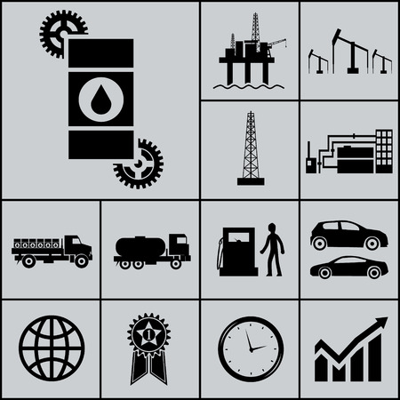 borehole: Oil Extraction Processing Use Icons and Symbols Silhouette on Gray Background Vector Illustration
