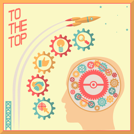 concentration gear: Retro Flat Design Businessman Head Thought Idea Generation Gear Wheel Icons Space Background Vector Illustration