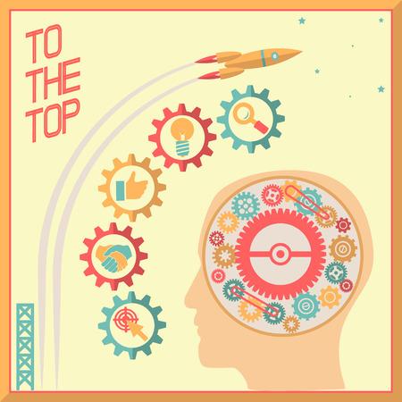 head gear: Retro Flat Design Businessman Head Thought Idea Generation Gear Wheel Icons Space Background Vector Illustration