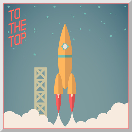 cartoon rocket: Retro Flat Design Rocket Start Space Stars Background Vector Illustration