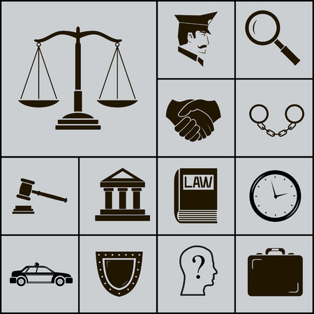 Law Justice Police Icons and Symbols Silhouette on Gray Background Vector Illustration Vector