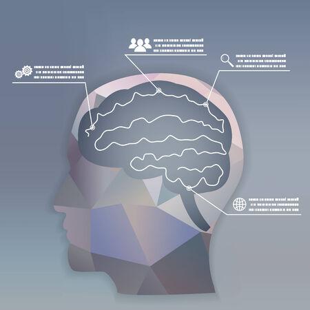Businessman Brain Headmind Social Network Media Icon Infographics Vector illustration Vector