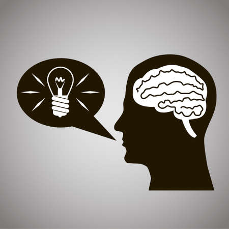 manifest: Headmind Brain in Head Silhouette Generate Lamp Idea Manifest in a Speach Bubble Black on Gray Background Vector Illustration Illustration