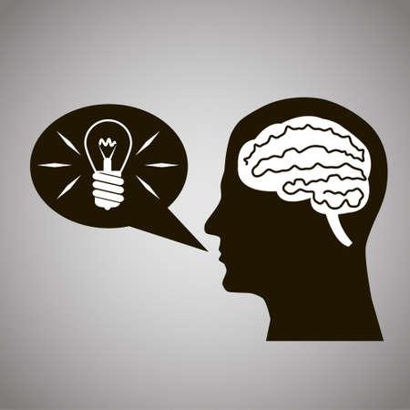 Headmind Brain in Head Silhouette Generate Lamp Idea Manifest in a Speach Bubble Black on Gray Background Vector Illustration Illustration