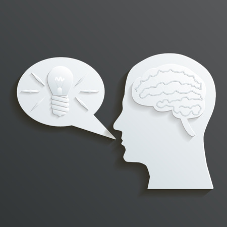 energysaving: Paper Headmind Brain in Head Silhouette Generate Lamp Idea Manifest in a Speach Bubble Vector Illustration
