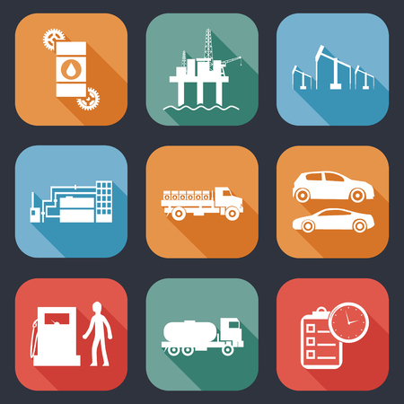oil and gas industry: Oil Extraction Processing Use Flat Icons and Symbols Silhouette Vector Illustration