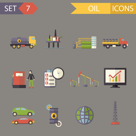 borehole: Retro Flat Oil Icons and Symbols Set Vector Illustration