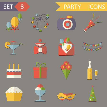 Retro Flat Birthday Party Celebrate Icons and Symbols Set Vector Illustration Vector
