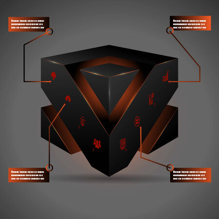 Abstract 3d Cube Isolated Infographic with Isometric Icons on Gray Background Vector Illustration Vector
