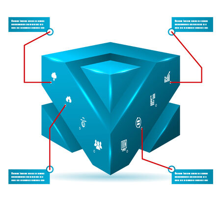 Abstract 3d Cube Isolated Infographic with Isometric Icons Vector Illustration Vector